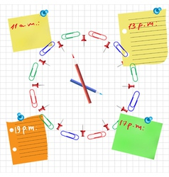 Office clock concept with pencil pin and sticker vector