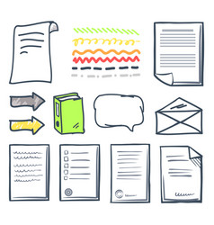 office paper document and bubbles icons set vector image