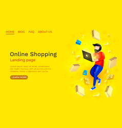 online shopping landing page website app service vector image