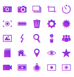 Photography gradient icons on white background vector