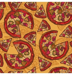 Pizza sketch seamless pattern vector image