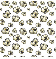 popcorn seamless pattern sketch engraving vector image