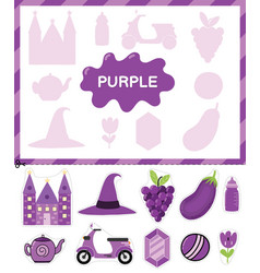 Purple color cut elements and match them with vector