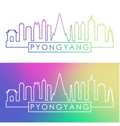 pyongyang skyline colorful linear style editable vector image