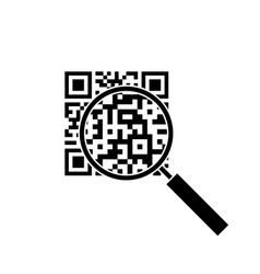 qr code through the magnifying glass vector image