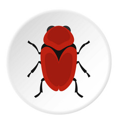 red beetle icon circle vector image