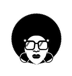 retro disco woman 70s hairstyle black silhouette vector image