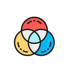 Rgb color swatch palette flat color line vector