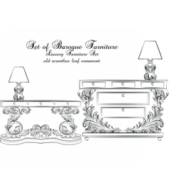 Royal baroque classic furniture table vector