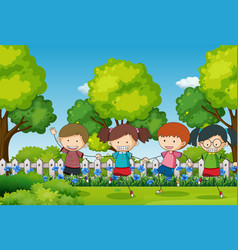 scene with four kids in the park vector image