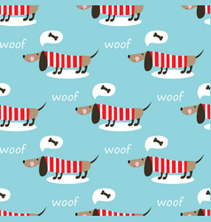 Seamless pattern with cute dog vector