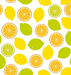 Seamless pattern with lemon lime orange on the vector