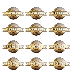 set 100 guarantee golden labels vector image