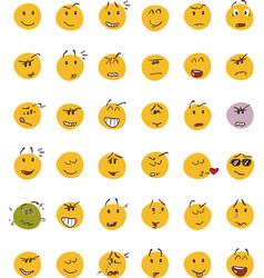 Set of smiley face emojis vector
