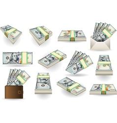 set one hundred dollars banknotes vector image