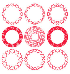 set round frames made wicker red hearts vector image