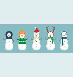 set snowmen in christmas clothes vector image