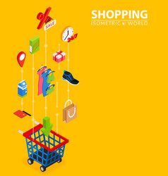 shopping integrated 3d web icons digital network vector image
