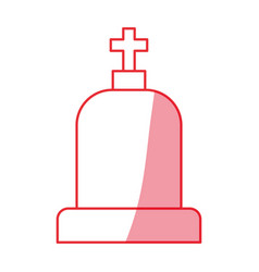 Silhouette tombstone with cross and religion vector