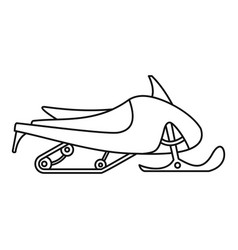 small snowmobile icon outline style vector image