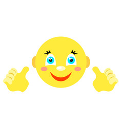 smiley with finger gesture with both hands vector image