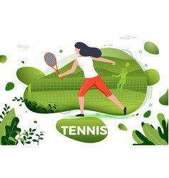 sporty girl playing tennis vector image