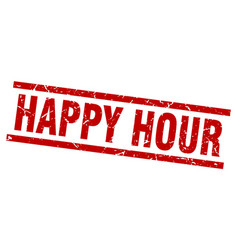 Square grunge red happy hour stamp vector