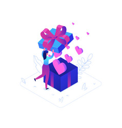 st valentines day - modern colorful isometric vector image