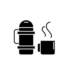 thermos and mug black icon sign on vector image