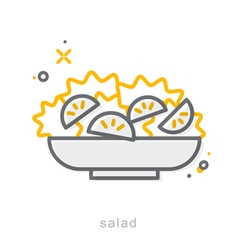 Thin line icons Salad vector image