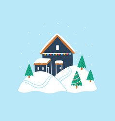 Tiny house with christmas tree vector