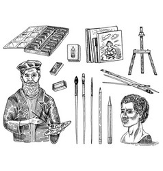 tools and materials artist for drawing in vector image