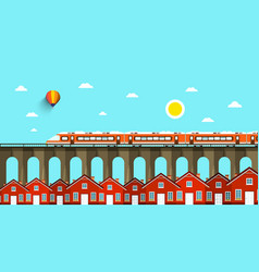 train on bridge abstract landscape city vector image