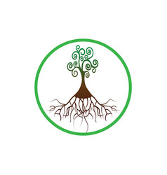 tree life tree natural round logo green tree vector image