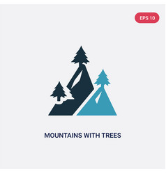 two color mountains with trees icon from nature vector image