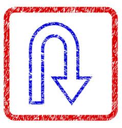 U turn grunge framed icon vector