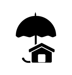 Umbrella and house icon vector