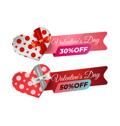 valentine sale banner template with gift box vector image