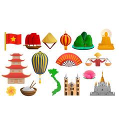 Vietnam icon set cartoon style vector