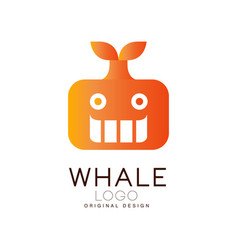 whale logo design creative badge with can vector image