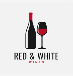 Wine bottle and glass logo red and white wine vector