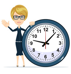 Woman holding clock vector