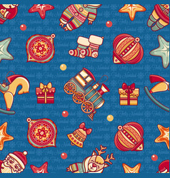 christmas toys seamless pattern holiday background vector image