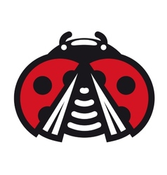 Cute little red spotted cartoon ladybug icon vector image