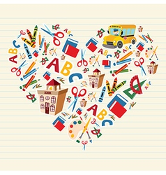 Back to school love heart vector image vector image