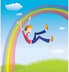 Boy on the rainbow vector image vector image