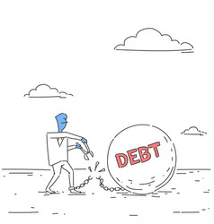 business man cut chain bound paid credit debt vector image