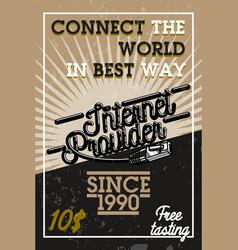 color vintage internet provider banner vector image