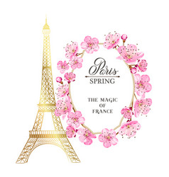 eiffel tower and tulip bouquet vector image vector image