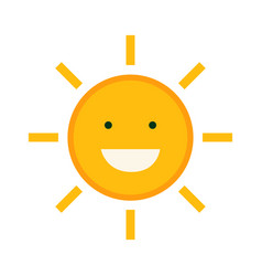 flat cute sun character design with isolated vector image